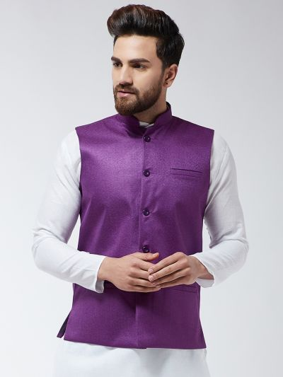 Sojanya (Since 1958) Men's Jute Cotton Purple ONLY Nehrujacket