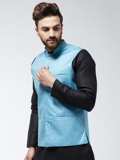 Sojanya (Since 1958) Men's Jute Cotton Sky Blue ONLY Nehrujacket