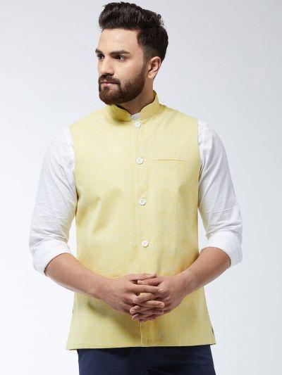 Sojanya (Since 1958) Men's Cotton Linen Blend Lemon Yellow Nehru Jacket