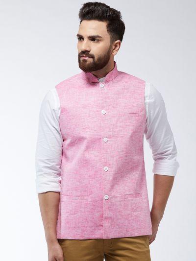 Sojanya (Since 1958) Men's Cotton Linen Blend Pink Nehru Jacket