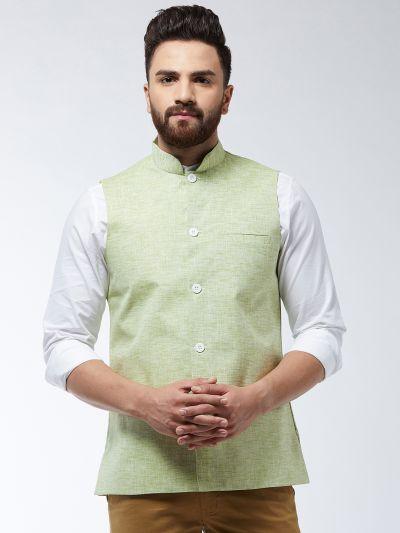Sojanya (Since 1958) Men's Cotton Linen Blend Green Nehru Jacket