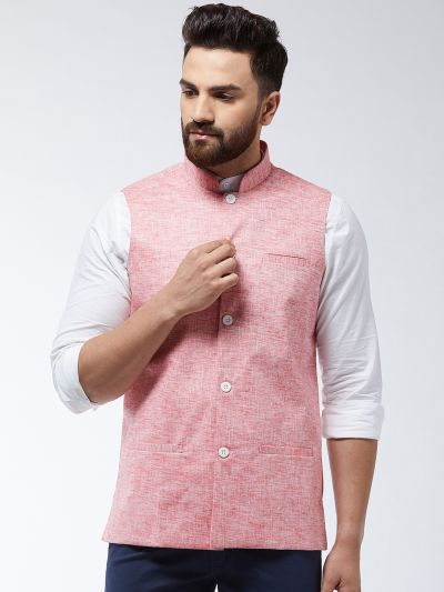 Sojanya (Since 1958) Men's Cotton Linen Blend Coral Nehru Jacket