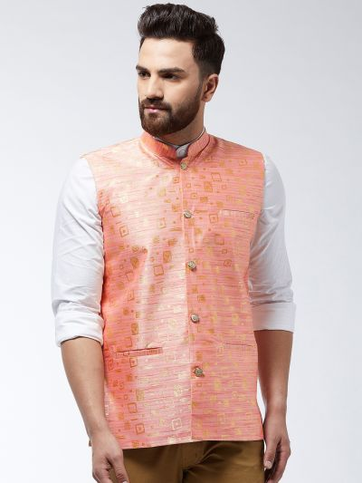 Sojanya (Since 1958) Men's Jacquard Silk Peach Designer Nehru Jacket