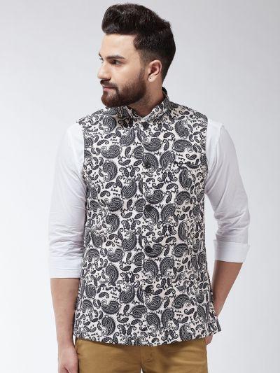 Sojanya (Since 1958) Men's Cotton Blend Black & Beige Printed Nehru Jacket