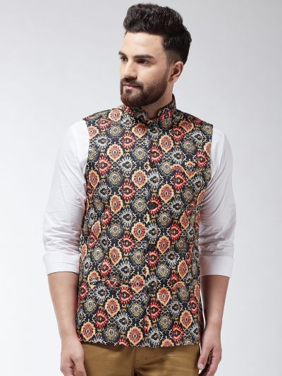 Sojanya (Since 1958) Men's Cotton Blend Black & Multi Printed Nehru Jacket