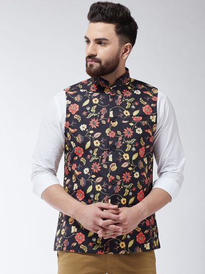 Sojanya (Since 1958) Men's Cotton Blend Black & Multi Printed Nehru Jacket