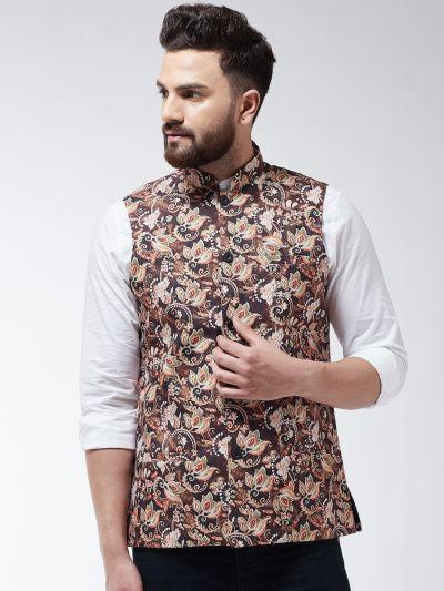 Sojanya (Since 1958) Men's Cotton Blend Coffee Brown & Multi Printed Nehru Jacket