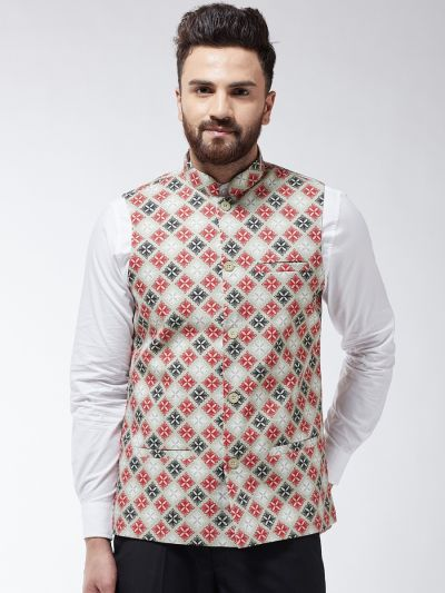 Sojanya (Since 1958) Men's Cotton Blend Pista Green & Red Printed Nehru Jacket