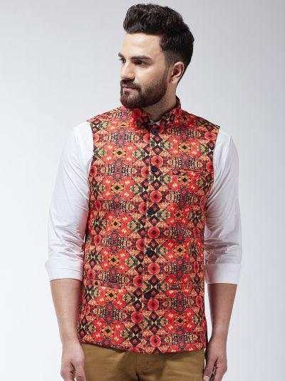 Sojanya (Since 1958) Men's Cotton Blend Orange & Multi Printed Nehru Jacket