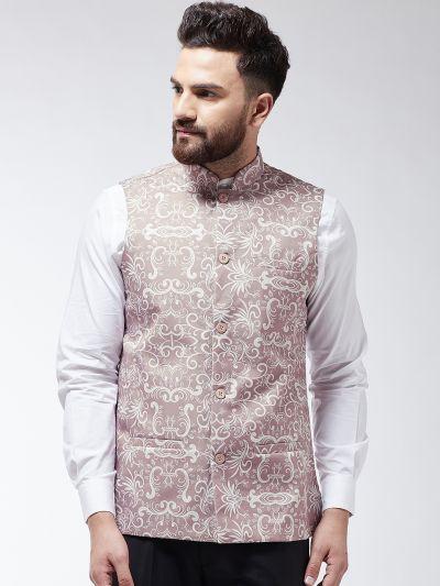 Sojanya (Since 1958) Men's Cotton Blend Lavender & Off White Printed Nehru Jacket
