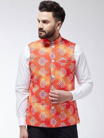 Sojanya (Since 1958) Men's Cotton Blend Orange & Off White Printed Nehru Jacket