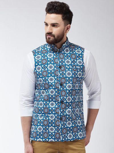 Sojanya (Since 1958) Men's Cotton Blend Indigo Blue & Multi Printed Nehru Jacket