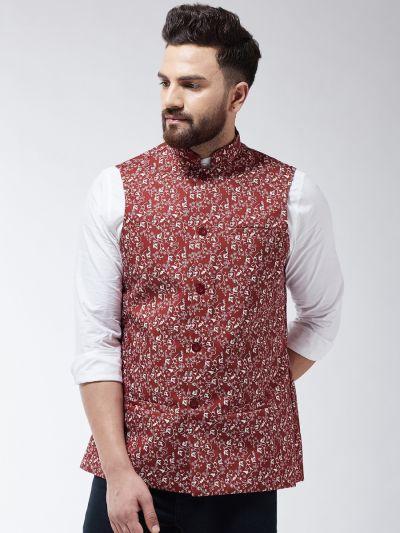Sojanya (Since 1958) Men's Cotton Blend Rust & Beige Printed Nehru Jacket