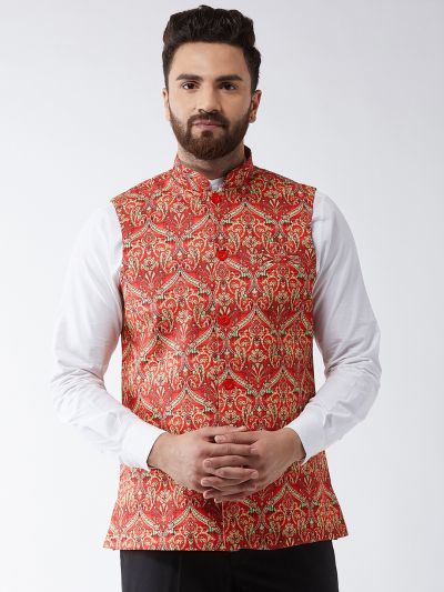 Sojanya (Since 1958) Men's Cotton Blend Red & Green Printed Nehru Jacket