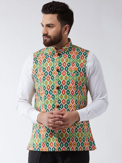 Sojanya (Since 1958) Men's Cotton Blend Green & Multi Printed Nehru Jacket