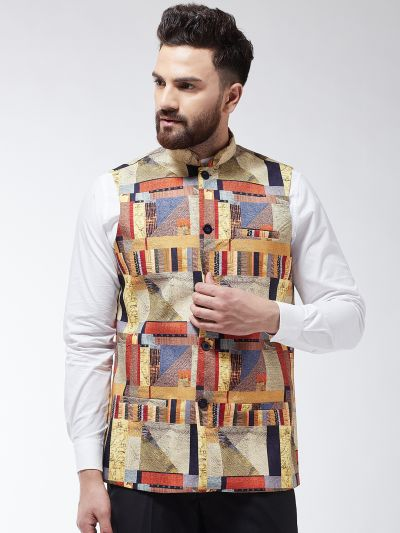 Sojanya (Since 1958) Men's Cotton Blend Multicolored Printed Nehru Jacket