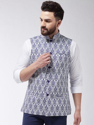 Sojanya (Since 1958) Men's Cotton Blend Royal Blue & Red Printed Nehru Jacket