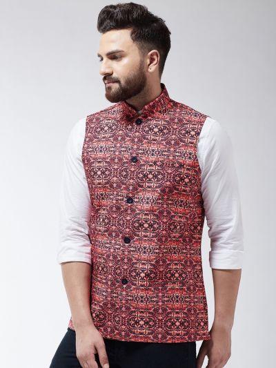 Sojanya (Since 1958) Men's Cotton Blend Black & Coral Printed Nehru Jacket