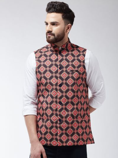 Sojanya (Since 1958) Men's Cotton Blend Coffee Brown & Multi Printed Nehru Jacket