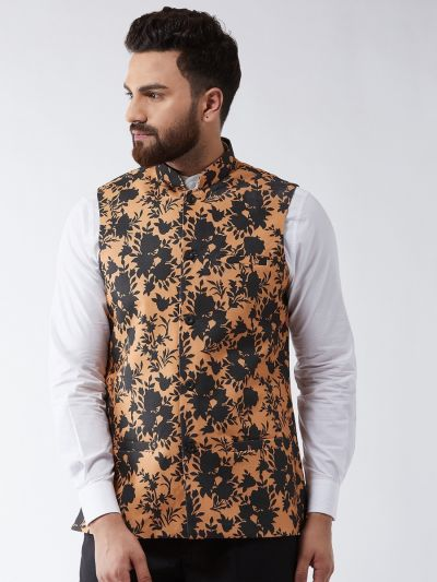 Sojanya (Since 1958) Men's Cotton Blend Dark Peach & Black Printed Nehru Jacket