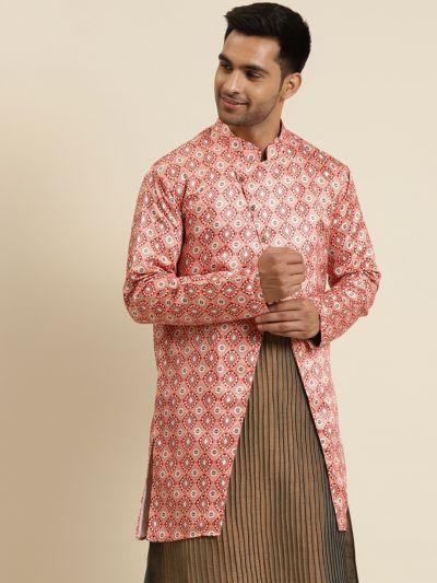 Sojanya (Since 1958), Men's Silk Blend Peach ONLY Sherwani Jacket