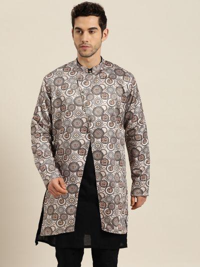 Sojanya (Since 1958), Men's Silk Blend Beige ONLY Sherwani Jacket