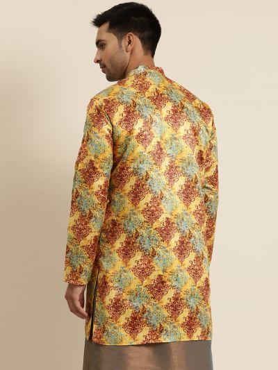 Sojanya (Since 1958), Men's Silk Blend Yellow ONLY Sherwani Jacket