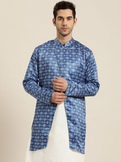 Sojanya (Since 1958), Men's Silk Blend Blue ONLY Sherwani Jacket