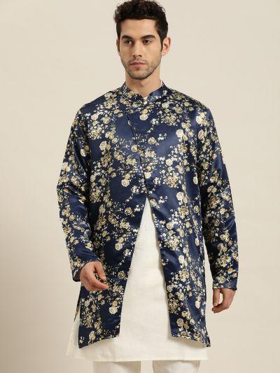 Sojanya (Since 1958), Men's Silk Blend Navy Blue ONLY Sherwani Jacket