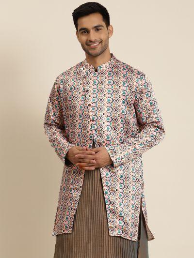 Sojanya (Since 1958), Men's Silk Blend White ONLY Sherwani Jacket