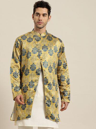 Sojanya (Since 1958), Men's Silk Blend Gold ONLY Sherwani Jacket