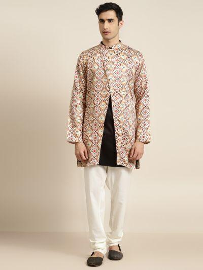 Sojanya (Since 1958), Men's Silk Blend Off White ONLY Sherwani Jacket