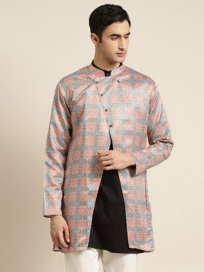 Sojanya (Since 1958), Men's Silk Blend Rust ONLY Sherwani Jacket