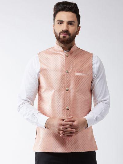 Sojanya (Since 1958) Men's Silk Blend Peach & Gold Self Design Nehru Jacket