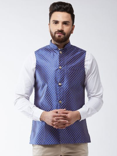 Sojanya (Since 1958) Men's Silk Blend Royal Blue & Gold Self Design Nehru Jacket