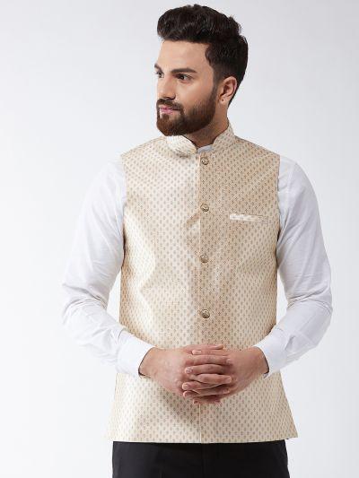 Sojanya (Since 1958) Men's Silk Blend Beige & Gold Self Design Nehru Jacket