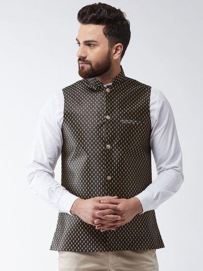Sojanya (Since 1958) Men's Silk Blend Black & Gold Self Design Nehru Jacket