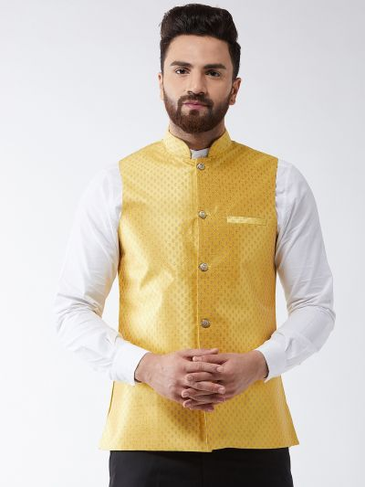 Sojanya (Since 1958) Men's Silk Blend Yellow & Gold Self Design Nehru Jacket
