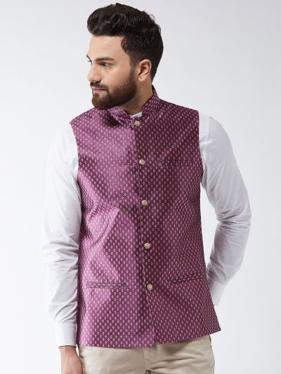 Sojanya (Since 1958) Men's Silk Blend Wine & Gold Self Design Nehru Jacket