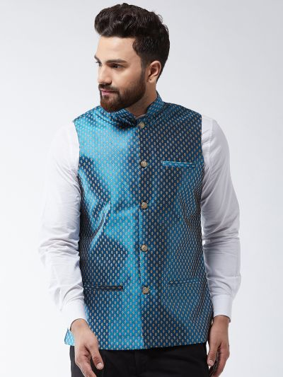 Sojanya (Since 1958) Men's Silk Blend Teal Blue & Gold Self Design Nehru Jacket