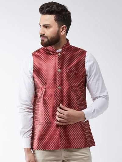 Sojanya (Since 1958) Men's Silk Blend Maroon & Gold Self Design Nehru Jacket