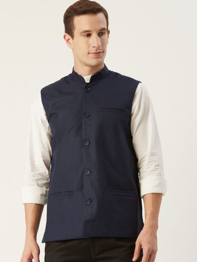 Sojanya (Since 1958), Mens Cotton Blend Navy Blue Solid Nehru Jacket