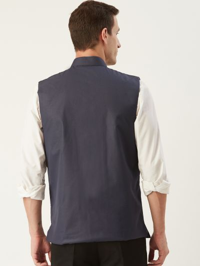 Sojanya (Since 1958), Mens Cotton Blend Charcoal Grey Solid Nehru Jacket