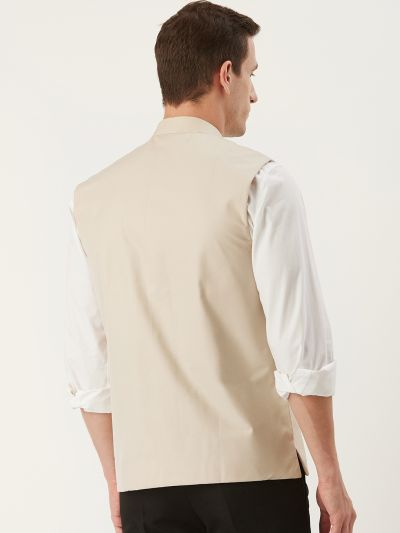 Sojanya (Since 1958), Mens Cotton Blend Beige Solid Nehru Jacket