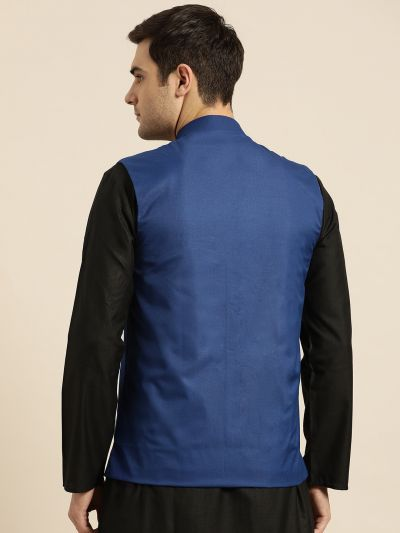 Sojanya (Since 1958), Mens Cotton Blend Royal Blue Solid Nehru Jacket