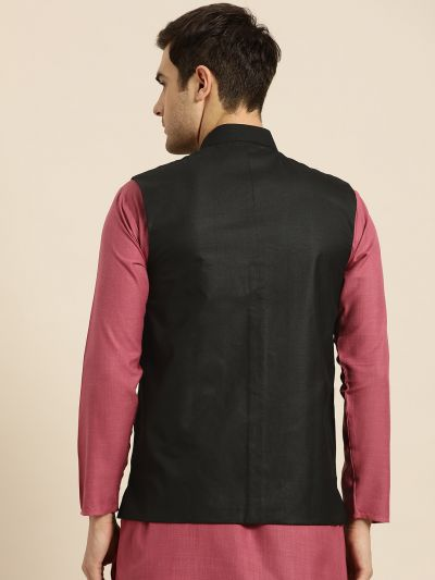 Sojanya (Since 1958), Mens Cotton Blend Black Solid Nehru Jacket