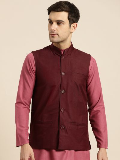 Sojanya (Since 1958), Mens Cotton Blend Maroon Solid Nehru Jacket