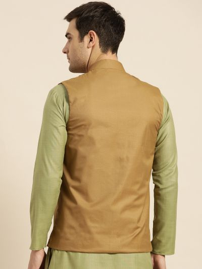 Sojanya (Since 1958), Mens Cotton Blend Brown Solid Nehru Jacket