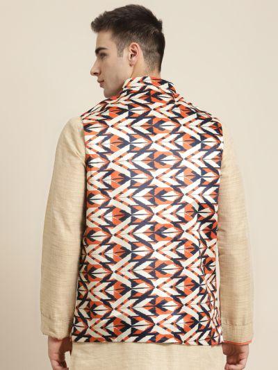 Sojanya (Since 1958), Men's Silk Blend Cream Printed ONLY Nehru Jacket