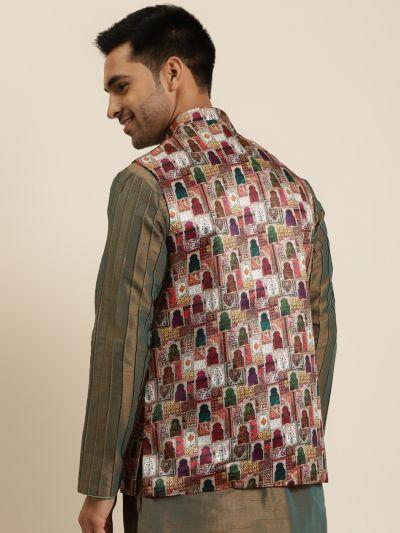 Sojanya (Since 1958), Men's Silk Blend Magenta Printed ONLY Nehru Jacket
